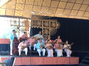 Rondalla-an ensemble of string instuments played through plucking or using a 'pick'