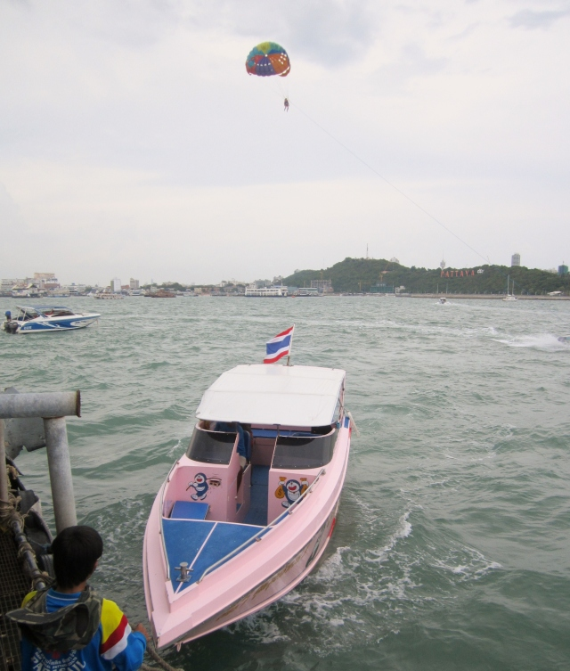 Our Pink speedboat for the day  (hard to miss the color and Doraemon logo)