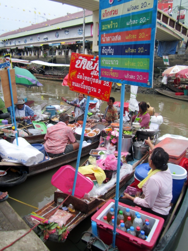 Boats where they cook the food on the spot