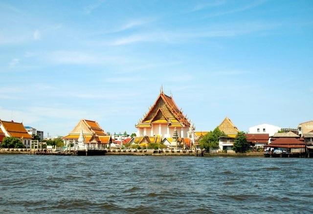 Grand palace view from Chao Phraya River