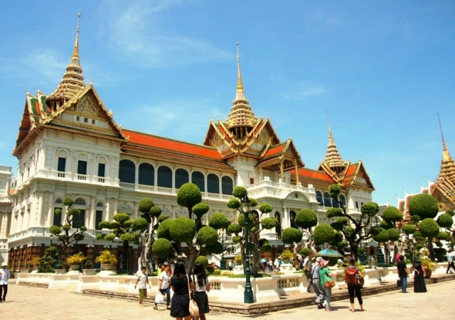 Grand Palace grounds and the round trees!