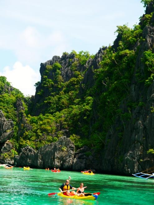 People kayaking..